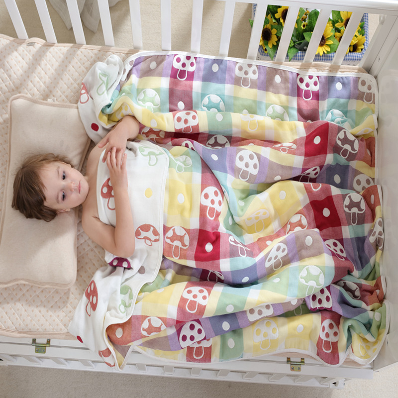 Spring and summer autumn and winter cotton 6-6 - layer gauze towel towels are covered with children's baby carpet