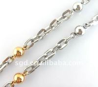 2013 Wholesale Stainless Steel Jewellry Round Gold Plated Chain Necklace