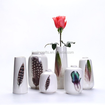 decal feather series party modern China unique white porcelain vase