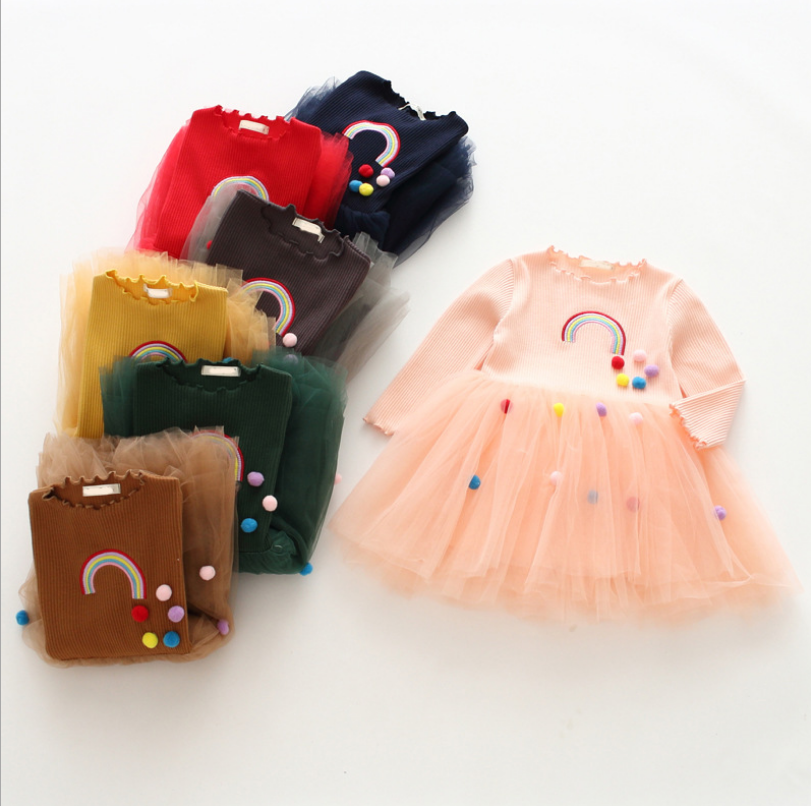 Multicolour 2018 fashion Korea style patchwork embroidered dress kids beautiful model dresses