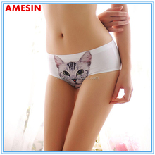 AMESIN Laser Cut Hipster Panties With 3D Print Sexy Cat Cartoon Panties