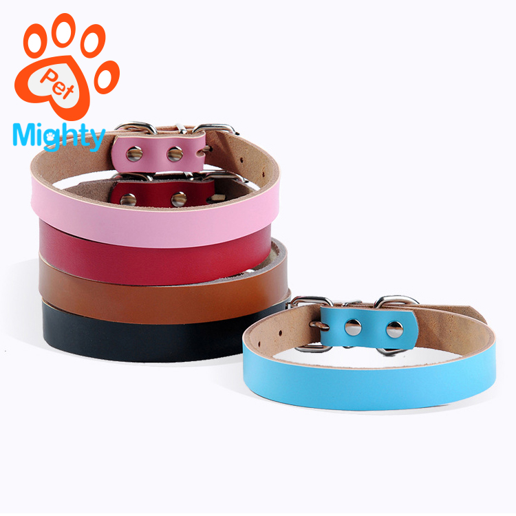 Basic Classic Soft Leather Pet Collars for Cats Puppy Small Medium Dogs