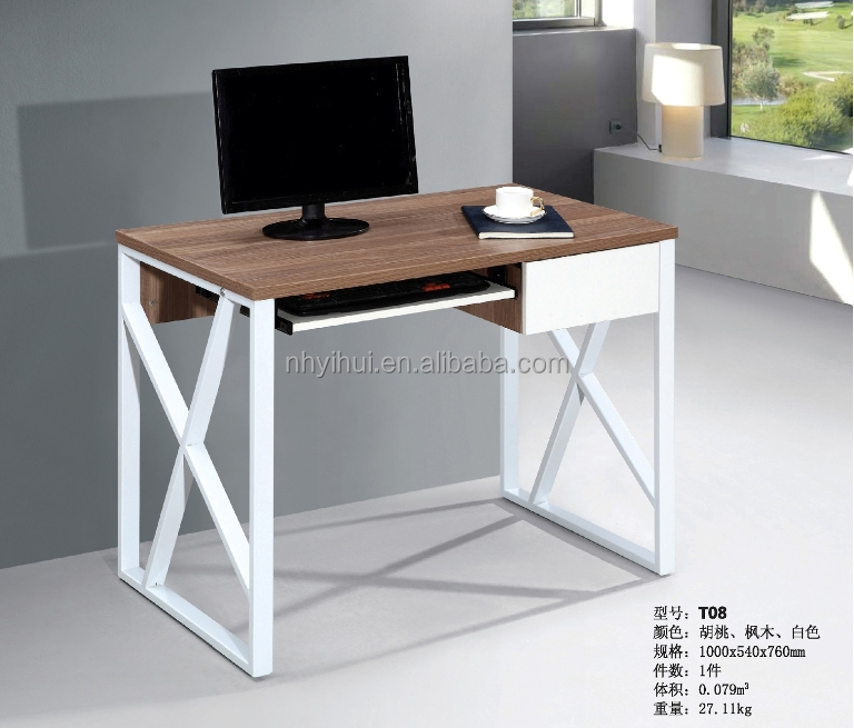 T08 2016 new style modern office furniutre metal frame wooden top desk for home and office