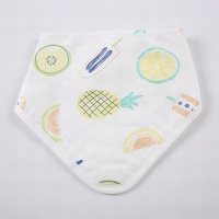100% muslin cotton washable waterproof dual purpose white fruits print wholesale terry cloth blank plain bandana bibs in stock