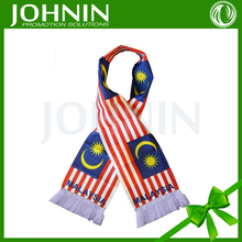"China Top Suppliers 8"" x 60"" Polyester Lightweight Malaysia Flag Scarf"