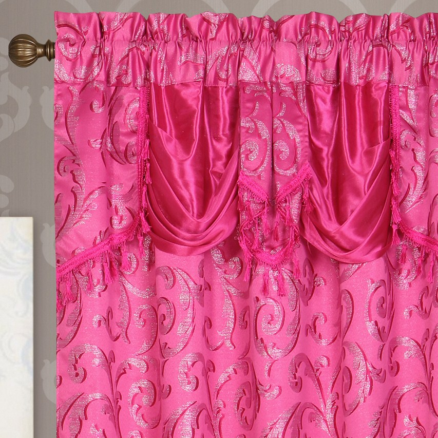 4 Piece Beautiful Luxury Embroidered Valance Hotel Drapes Curtain Design with attached Backing for the Living Room