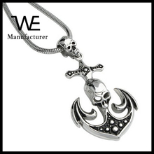 Black Silver Mens Necklace Snake Chain Anchor Pirate Skull Pendant Jewelry Necklace