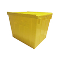 Heavy duty Plastic PP attached lid moving storage box for security firms storage