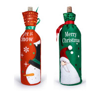 1pair Christmas Decoration Supplies Christmas Sequins Wine Bottle Cover Bags Santa Design Christmas Gift Bag