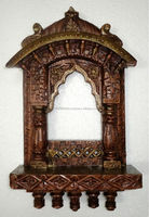 Hand Painted Traditional Wooden Jharokha Carving Handicraft Photo Frame