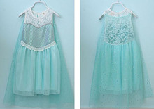 New 2016 Costume Elsa Girl Princess Party Dress Lace Baby Dress For 3-7 Years Elsa Costume GD40514-10