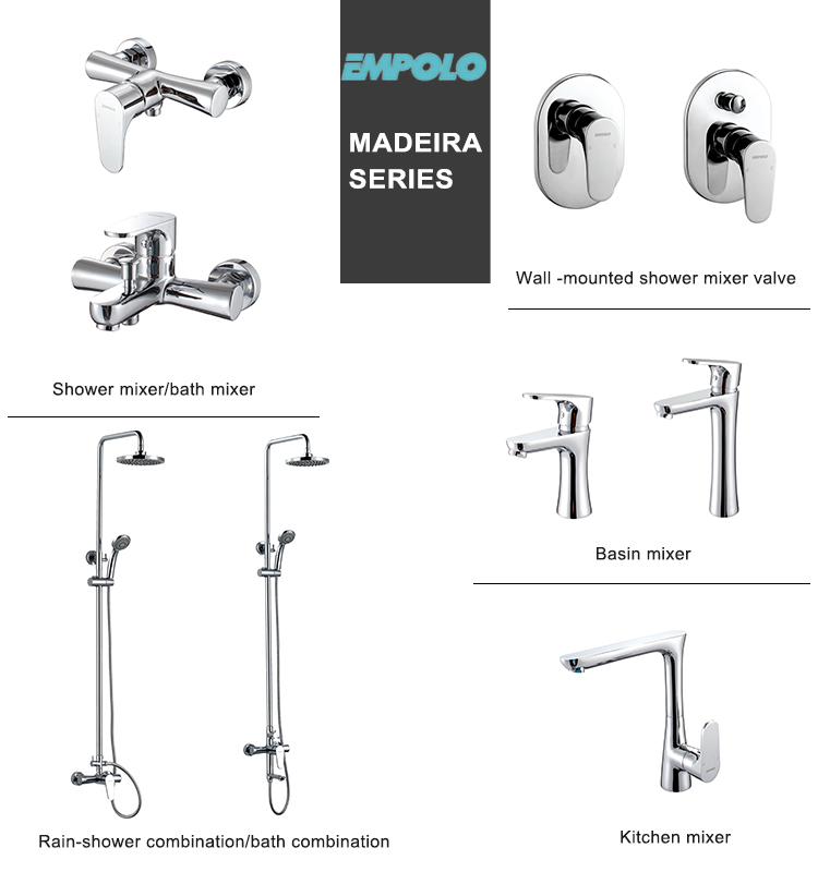 Double Handle Brass Concealed Shower System Control Hot Cold Water Mixing Valve with Dual Function