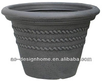 TAUPE EMBROSSED ROPE PATTERN ROUND BLOW MOLD PLASTIC STACKABLE FLOWER POT