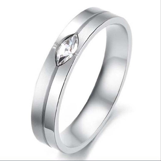 Silver With CZ Stone 316 l Stainless Steel Titanium Wedding Band Anniversary/Engagement/Promise/Couple Ring Best Gift