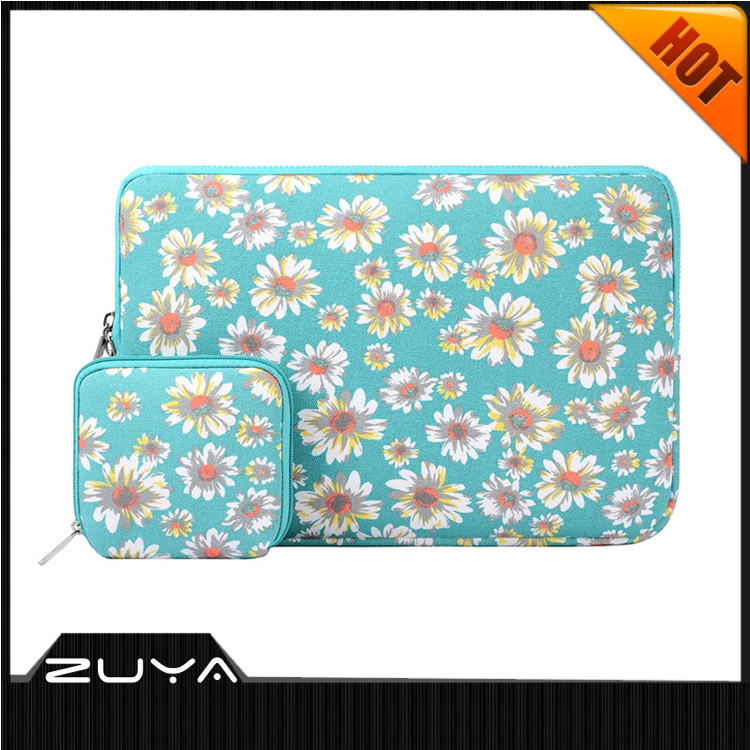 Wholesale good quality beautiful flower print neoprene laptop sleeve for different size