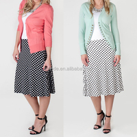 Latest Long Skirt Design Women Fancy Casual Vintage Retro Polka Dot Midi Skirt For China Factory Clothing Manufacturer