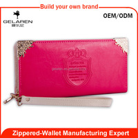 popular style edge binding leather clutch purse for lady factory wholesale