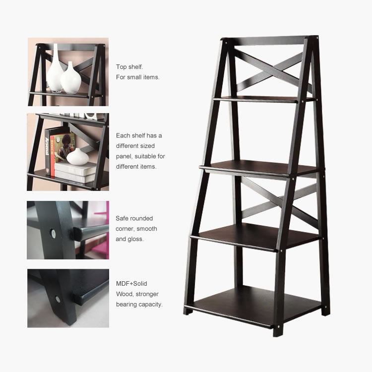 Wall Shelve Ladder Bookcase Wood Bookshelf Stand Storage ...