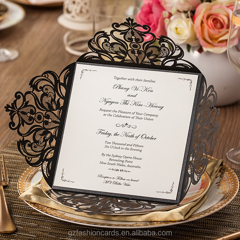 2016 Fashionable Ideal Products Black Laser Cut Wedding Cards