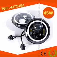 7 inch 45w turning light/angel eyes/halo jeep wrangler led headlight