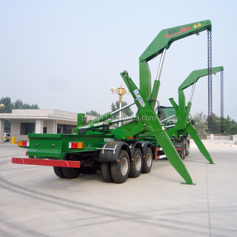 container truck trailer with crane