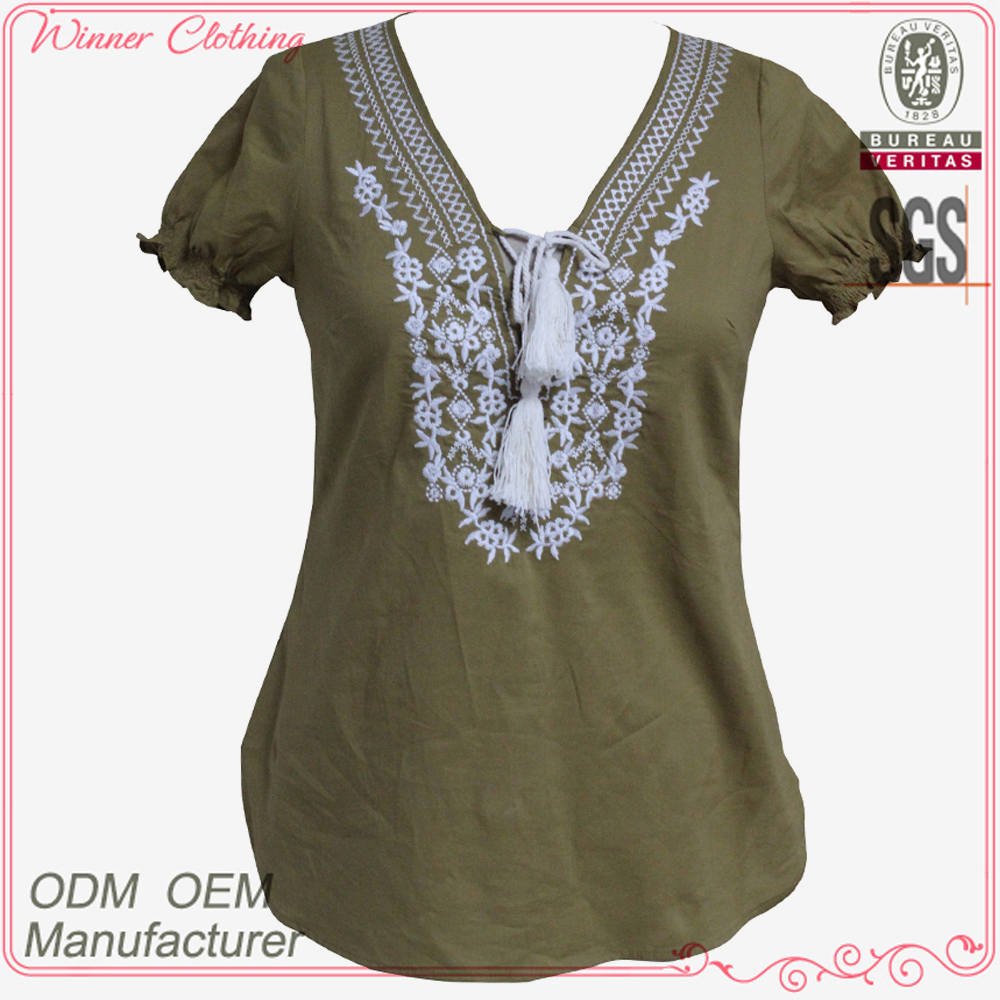 New fashion design short sleeve blouse neck embroidery design