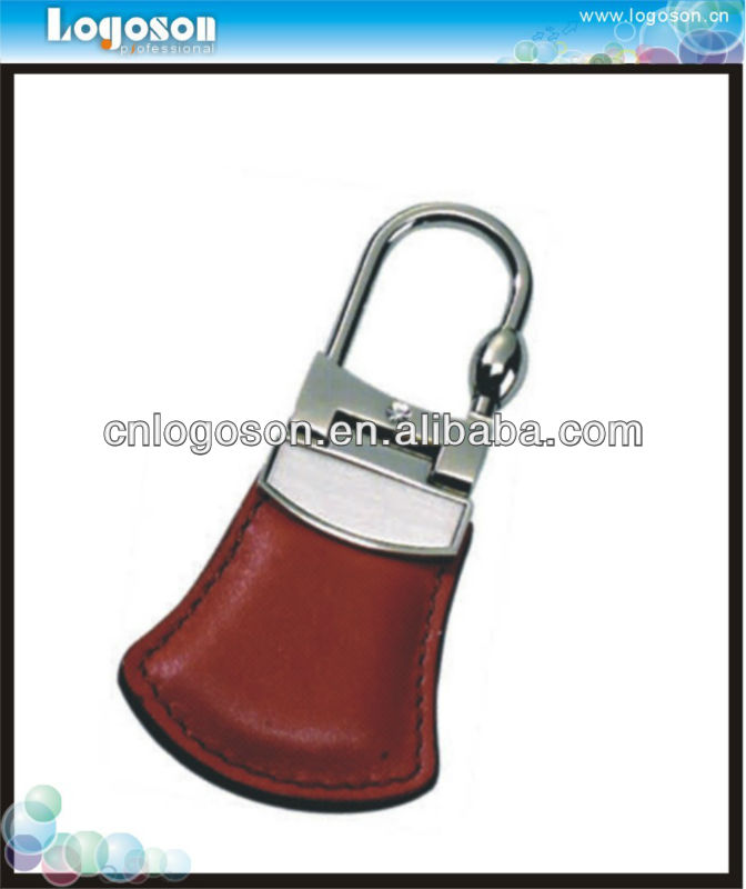 Travelling Collection Customized Brown Leather Metal Keychain