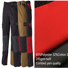 65%polyter 42% cotton 3% spandex combed twill fabric for working pants