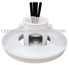 ceramic chocolate fondue pot sets with fork
