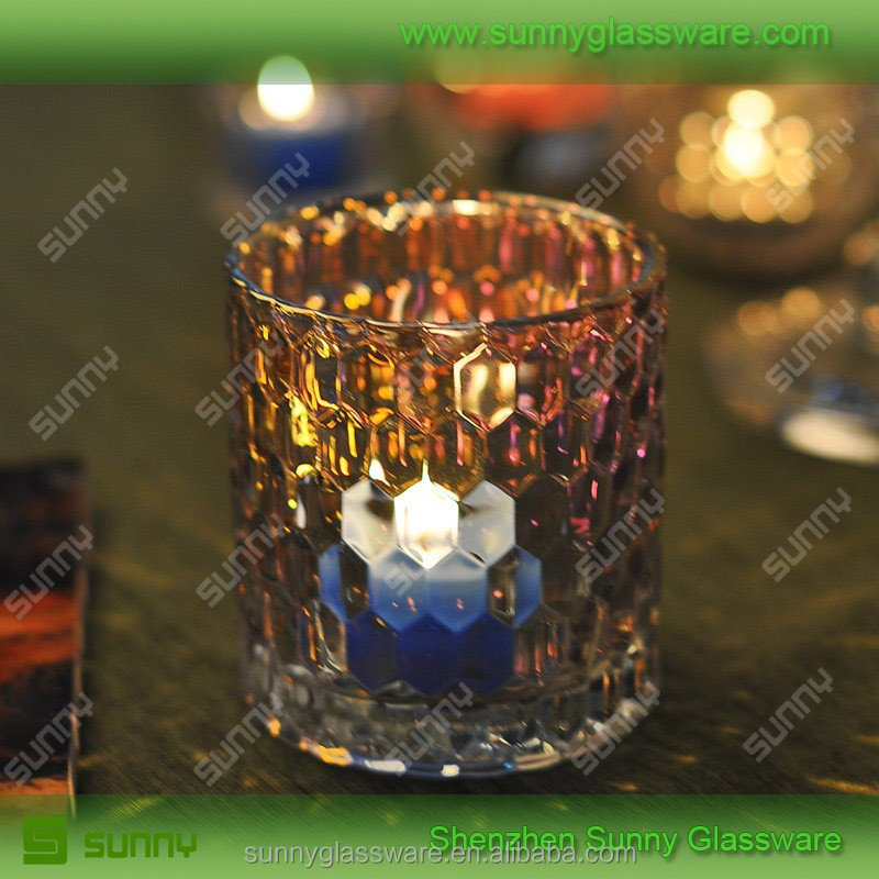 Color plate glass candle container wholesale