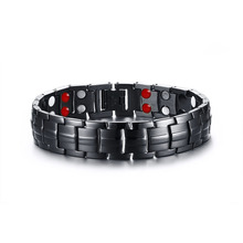 fashion black magnetic bracelet men stainless steel health bracelet for male