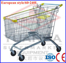Hot Selling 240 Liters big trolley cart supermarket shopping With handle Wheels And Baby Seats With CE certification