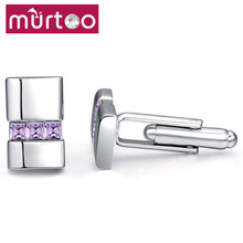 Murtoo Jewelry Shirt Sleeve Clip Crystal Top Brand Cufflinks