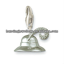 Fashion Silver Plated Feather Hat Charm