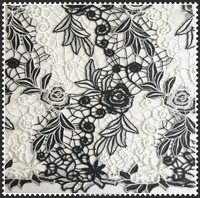 Chemical white and black color heavy allover guipure lace fabric