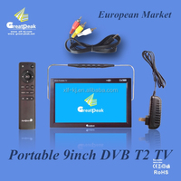 12 V DC 9 inch portable TV with built-in tunner DVBT, DVB-T, DVB-T2 transmitter receiver built-in digital TV