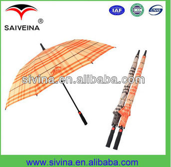 27 Inch 8 Ribs Auto Open Straight Tartan Umbrella End Cap