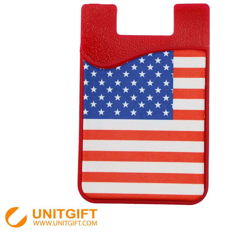 Full side printing 3M adhesive glue silicone credit card holder cell phone card holder