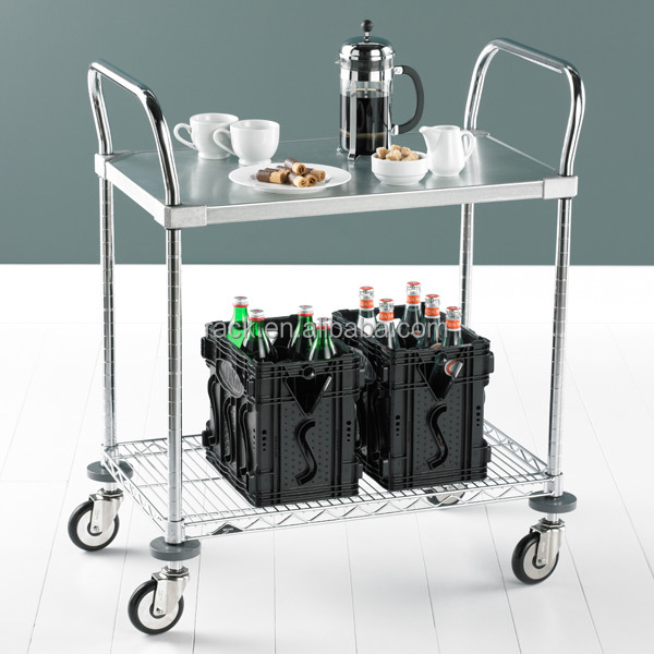 NSF Approval 2 Tiers Hotel Stainless Steel Food Service Cart with Wheels