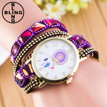 >>>Dream Catcher Watches Women Fashion Leather Wrap Bracelet Wrist Dress Quartz Clock Watches Women