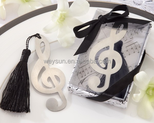 "Wedding gift ""Timeless Duet"" Brushed-Metal Openwork music note Bookmark with Elegant Silk Tassel Wedding Favors"