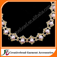 CBESM015 pearl chain trim, rhinestone chain trim for wedding and party