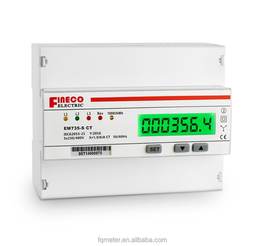 EM735-S CT 3*230/400V 1.5(6)A 3 phase 4 wire meter kwh electric energy meters for rail with pulse output