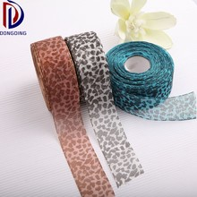 High quality 4cm wide Leopard pattern transparent organza ribbon
