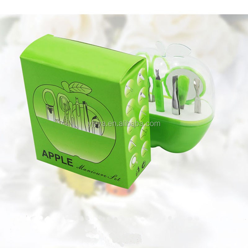 2016 wholesale cheap promotion gift 8pcs/set Apple Shape Girls Personalized Cute Manicure Set