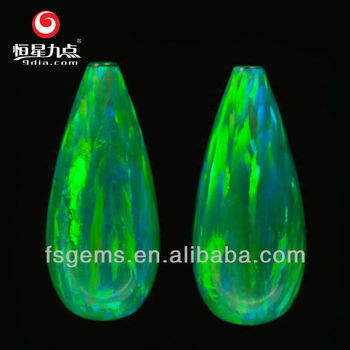 Low Price Good Quality Kiwi Color Drop Shape 18*8mm Synthetic Opal Stone Price