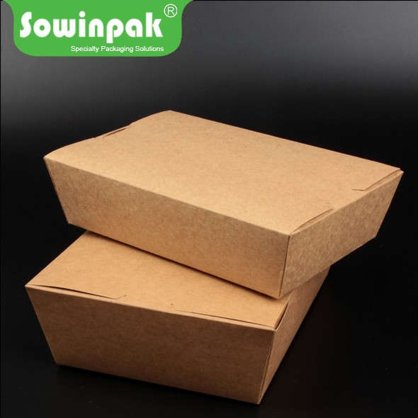 Kraft food packaging disposable lunch togo box paper container