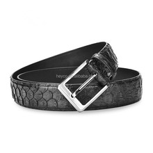 Heyco wholesale custom high quality python skin cow leather guangzhou belt military