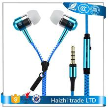 2017 hot sell gaming zipper headset music stereo earphones,3.5mm in-ear earphone for samsung