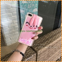 Fashion Cute Cartoon Rabbit Ear Stand Liquid Quicksand hard phone case for iphone7